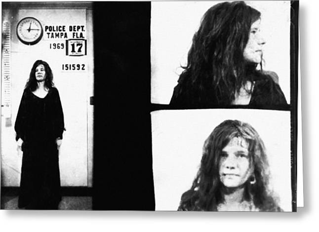 Janis Joplin Mugshot In Black And White Greeting Card by Bill Cannon