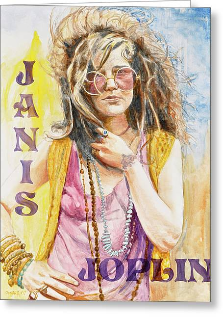 Janis Joplin Painted Poster Greeting Card by Kathryn Donatelli