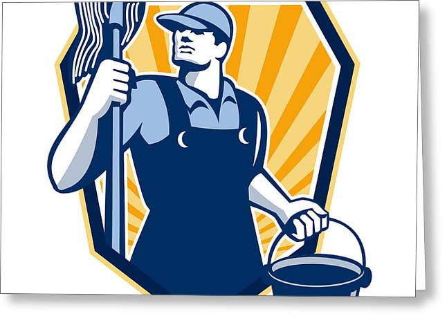 Janitor Cleaner Hold Mop Bucket Shield Retro Greeting Card by Aloysius Patrimonio