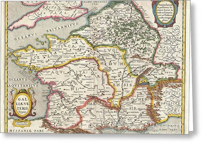 Jansson Map Of France Or Gaul In Antiquity Greeting Card