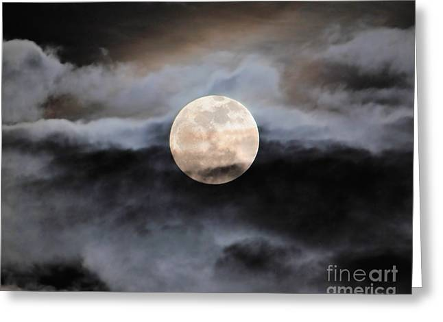 January Full Moon With Clouds Greeting Card