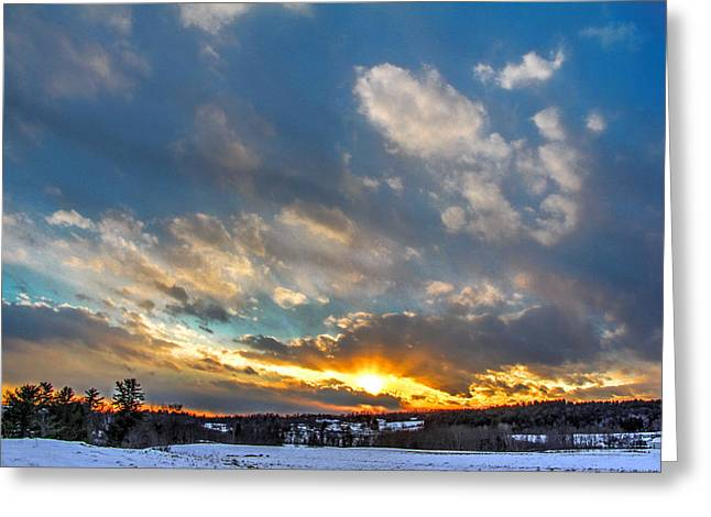 January Sunset Greeting Card