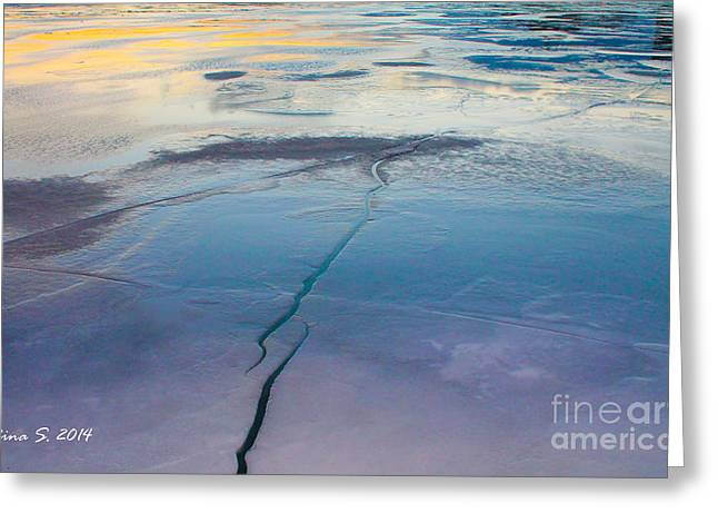 Greeting Card featuring the photograph January Sunset On A Frozen Lake by Nina Silver
