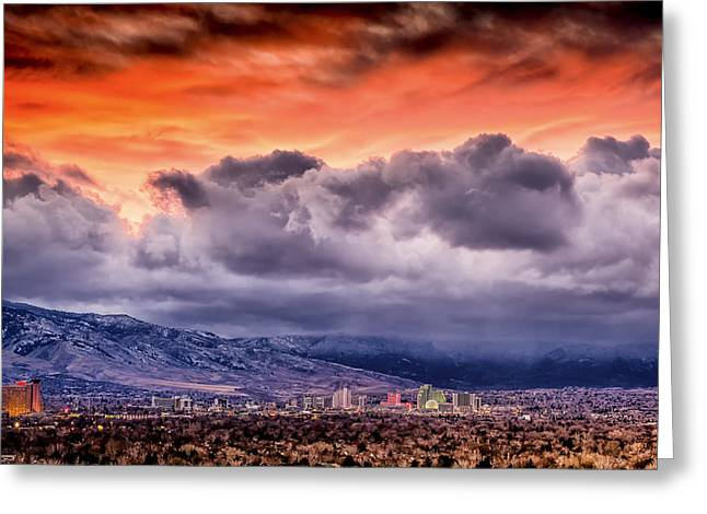January Sunset Over Reno Greeting Card by Janis Knight