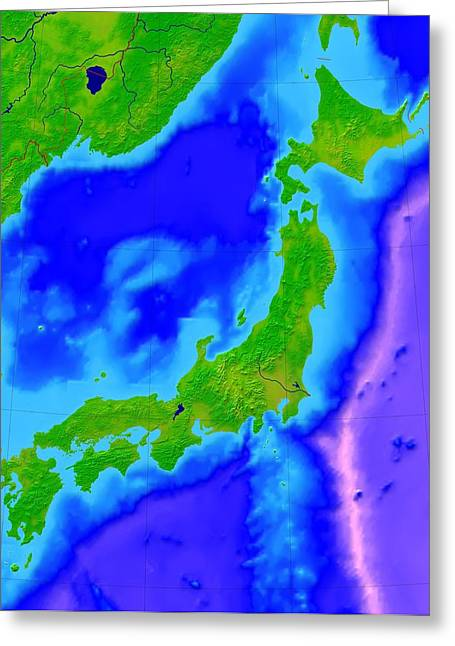 Japan, Bathymetric Map Greeting Card by Science Photo Library