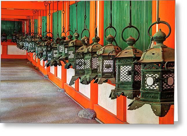Japan, Nara Hanging Lanterns At Kasuga Greeting Card