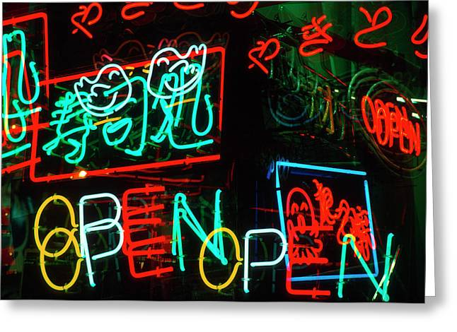 Japan, Osaka Neon Signs For Sale Greeting Card by Jaynes Gallery
