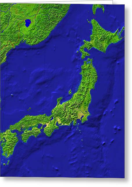 Japan Topography Greeting Card by Science Photo Library