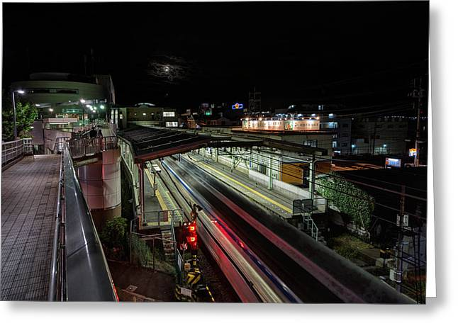 Japan Train Night Greeting Card