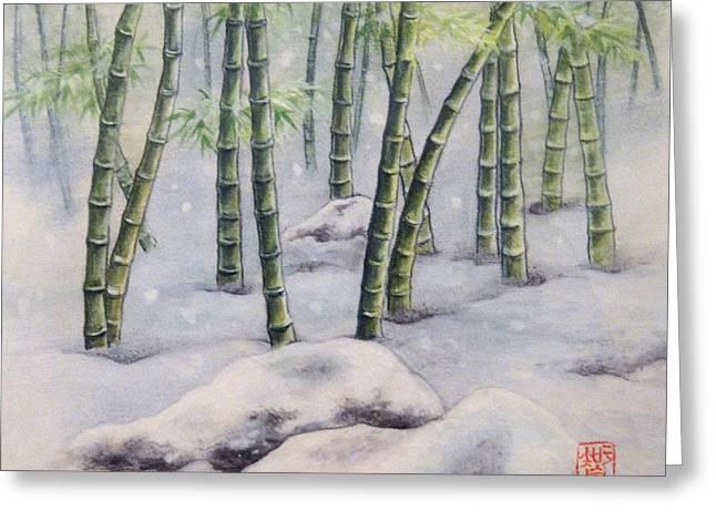 Japanese Bamboos Greeting Card by Tomoko Koyama