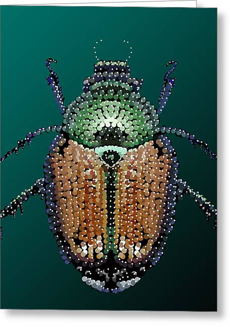 Japanese Beetle Bedazzled II Greeting Card