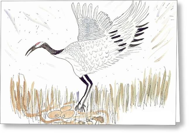Japanese Crane And Her Nest Greeting Card by Helen Holden-Gladsky