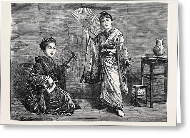 Japanese Dancing Girl Practising 1874 Greeting Card by Japanese School