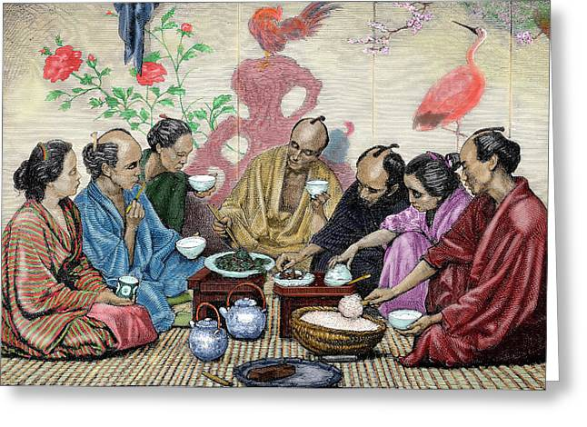Japanese Family Eating Greeting Card by Prisma Archivo