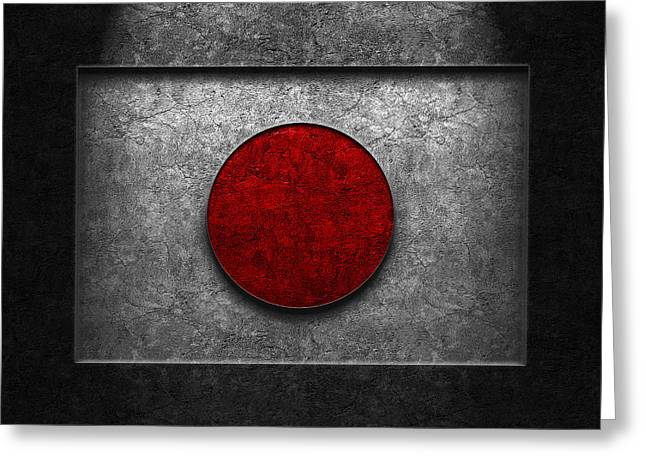 Greeting Card featuring the digital art Japanese Flag Stone Texture by Brian Carson