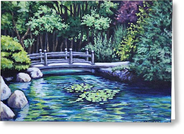 Greeting Card featuring the painting Japanese Garden Bridge San Francisco California by Penny Birch-Williams
