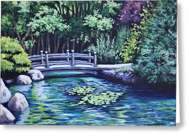 Japanese Garden Bridge San Francisco California Greeting Card by Penny Birch-Williams