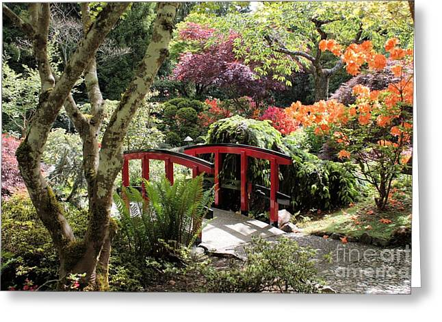 Japanese Garden Bridge With Rhododendrons Greeting Card by Carol Groenen