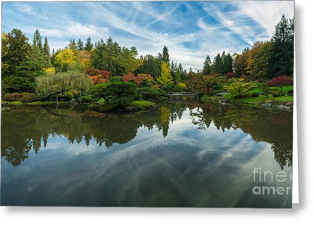 Japanese Garden Fall Colors Seattle Panorama Greeting Card by Mike Reid