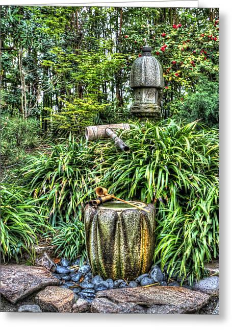 Japanese Garden Fountain Greeting Card by Heidi Smith