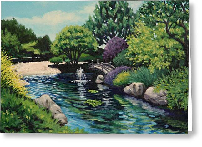Japanese Garden Fountain View Greeting Card by Penny Birch-Williams