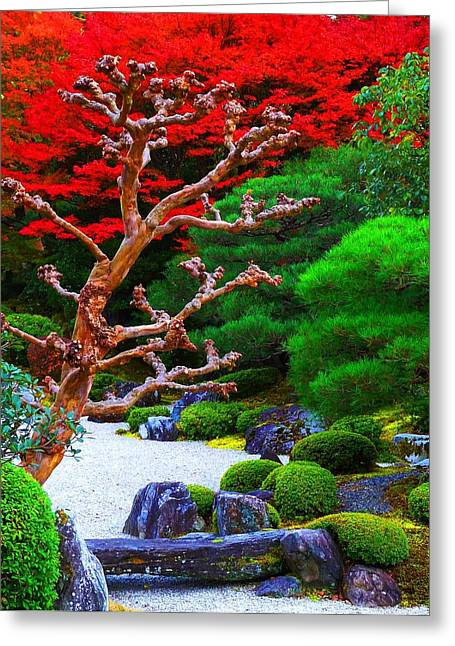 Greeting Card featuring the photograph Japanese Garden by Julia Ivanovna Willhite