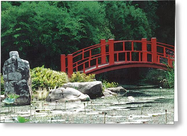 Japanese Garden Greeting Card by Mary Bedy