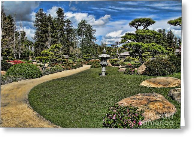 Japanese Garden Of Water And Fragrance 1 Greeting Card by Bedros Awak