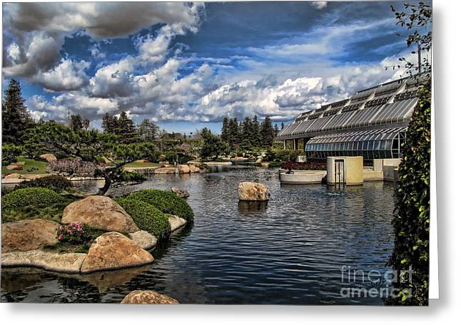 Japanese Garden Of Water And Fragrance 4 Greeting Card by Bedros Awak