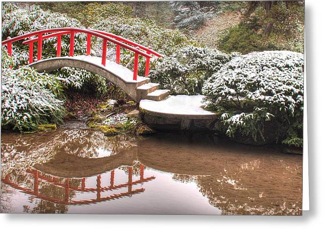 Japanese Garden Snowfall 2 Greeting Card by Jeff Cook