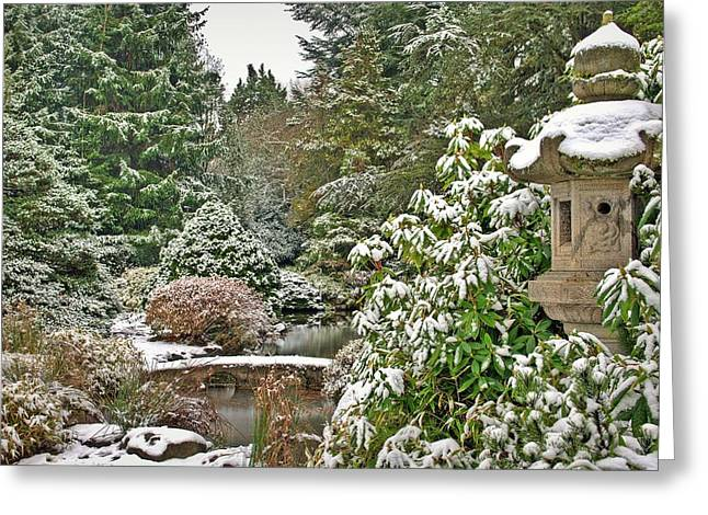 Japanese Garden Snowfall Greeting Card by Jeff Cook