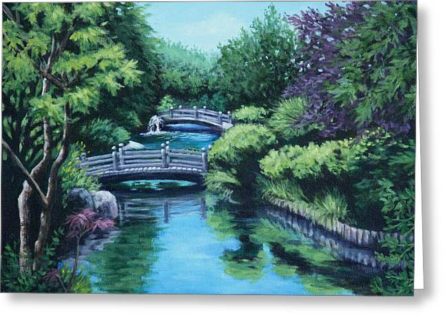 Greeting Card featuring the painting Japanese Garden Two Bridges by Penny Birch-Williams