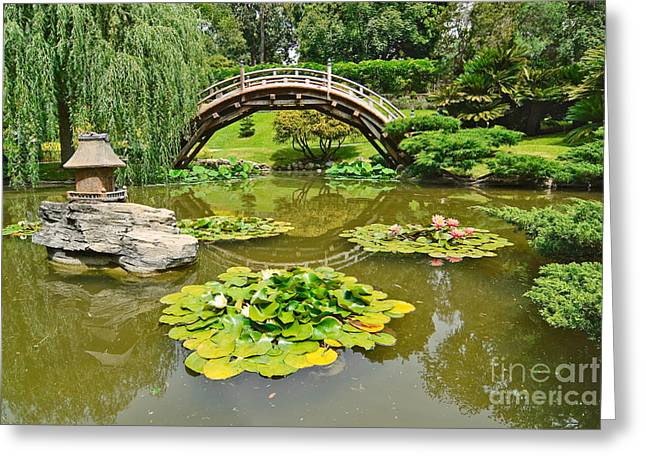 Japanese Garden With Moon Bridge And Lotus Pond With Koi Fish. Greeting Card by Jamie Pham