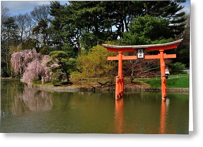 Japanese Garden With Orange Arch Greeting Card by Diane Lent