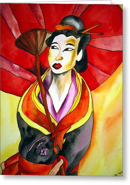 Japanese Geisha Greeting Card by Sacha Grossel
