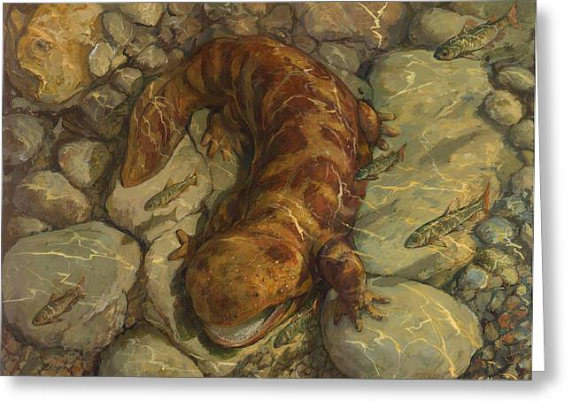 Japanese Giant Salamander Greeting Card by ACE Coinage painting by Michael Rothman