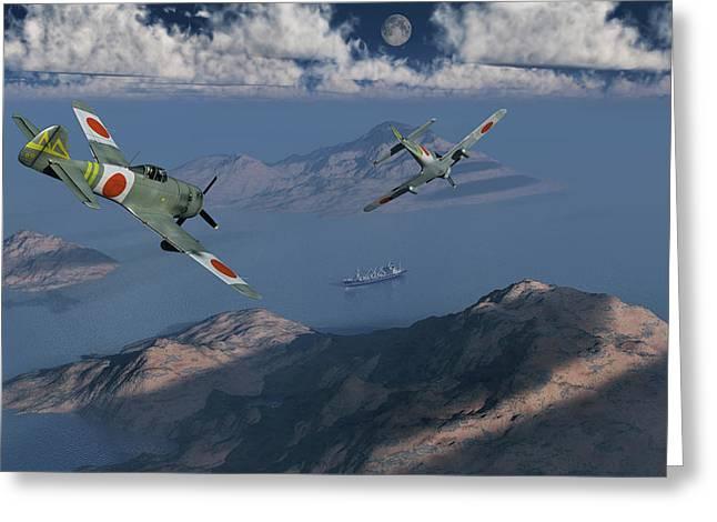 Japanese Nakajima Ki-84 Fighter Planes Greeting Card by Mark Stevenson