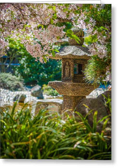 Japanese Shrine In The Garden Greeting Card by Sarit Sotangkur