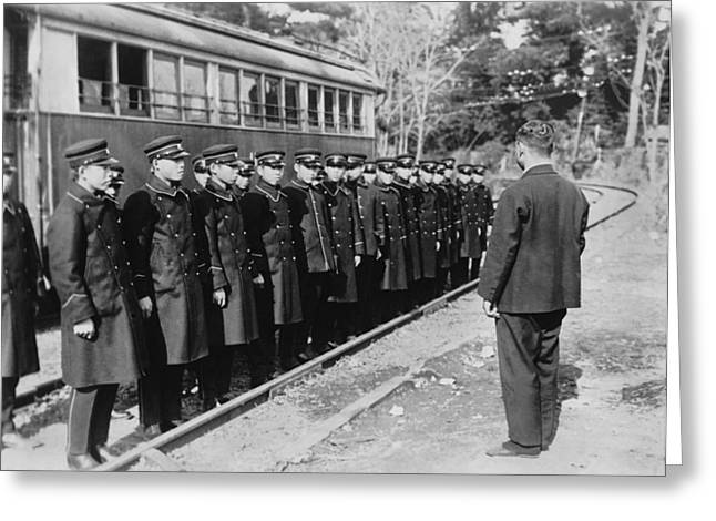 Japanese Street Car Conductors Greeting Card by Underwood Archives