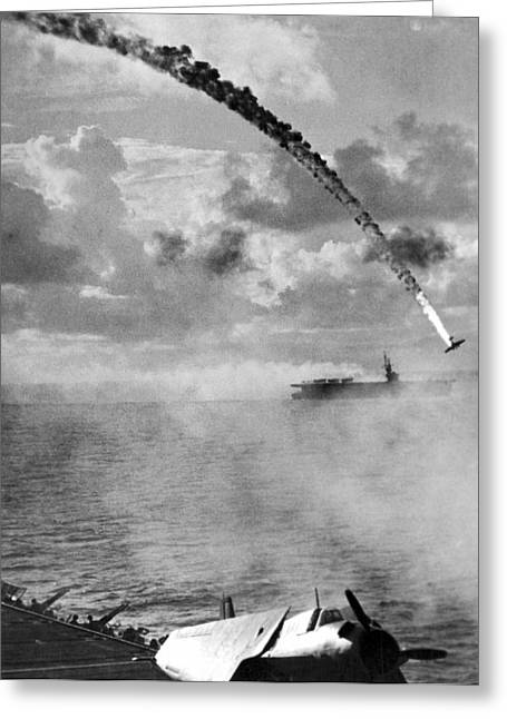 Japanese Torpedo Plane Crashes Greeting Card by Underwood Archives