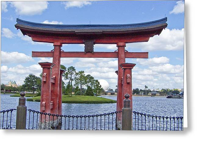 Japanese Torri Gate At Epcot Greeting Card