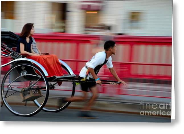 Japanese Tourists Ride Rickshaw In Tokyo Japan Greeting Card by Imran Ahmed