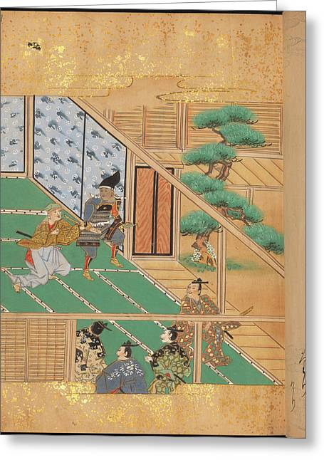 Japanese Warriors In A Room Greeting Card by British Library