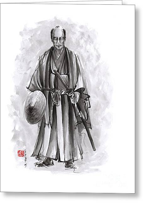 Japanese Warriors Painting. Greeting Card by Mariusz Szmerdt