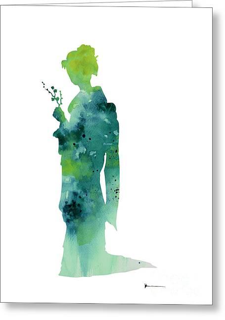 Japanese Woman Geisha Girl Figurine For Sale Greeting Card by Joanna Szmerdt