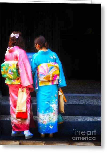 Japanese Women Wearing Beautiful Kimono Greeting Card