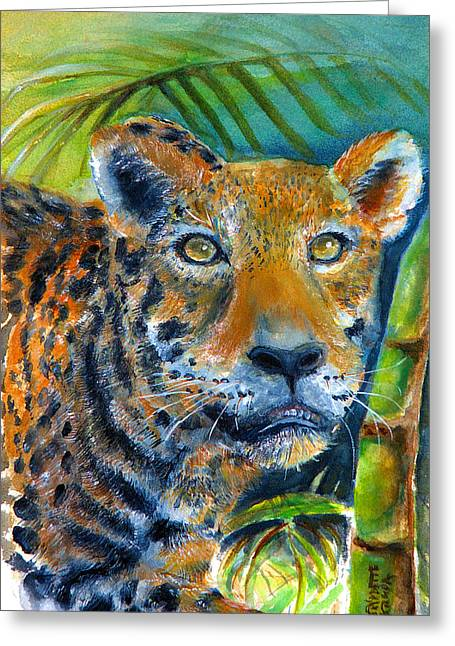 Greeting Card featuring the painting Jaquar On The Prowl by Bernadette Krupa