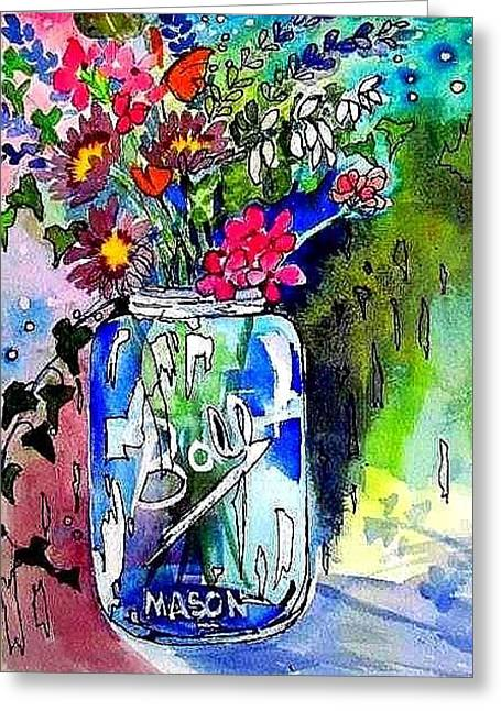 Jar And Flowers Two Greeting Card by Esther Woods
