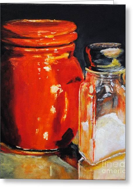 Jar And Salt  Greeting Card by Toelle Hovan