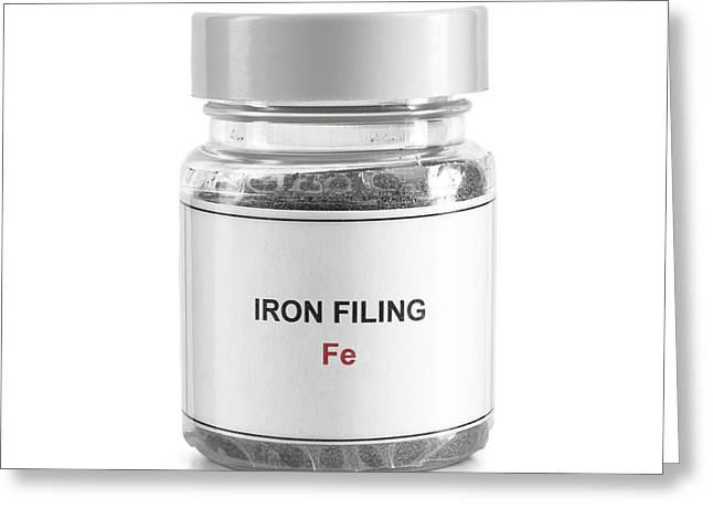 Jar Containing Iron Filings Greeting Card by Science Photo Library